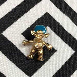 •Vintage• TROLL gold body, crystal, blue hair pin